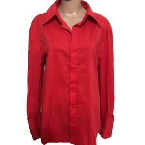 Just Cavalli Orange Long Sleeves Button Up Top